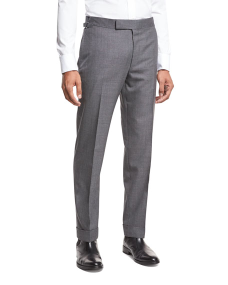 TOM FORD O'Connor Base Textured Trousers, Medium Gray