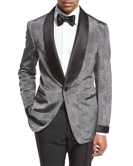 Shelton Base Satin Shawl-Collar Moire Evening Jacket, Gray