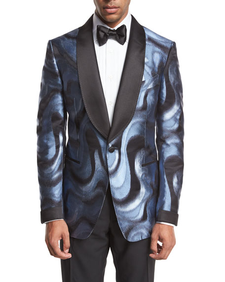 TOM FORD Shelton Base Moire Satin-Collar Evening Jacket,