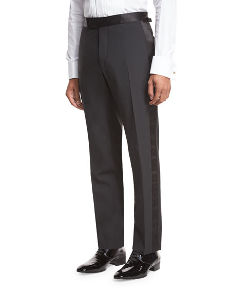 TOM FORD Shelton Base Satin-Trim Formal Trousers, Black