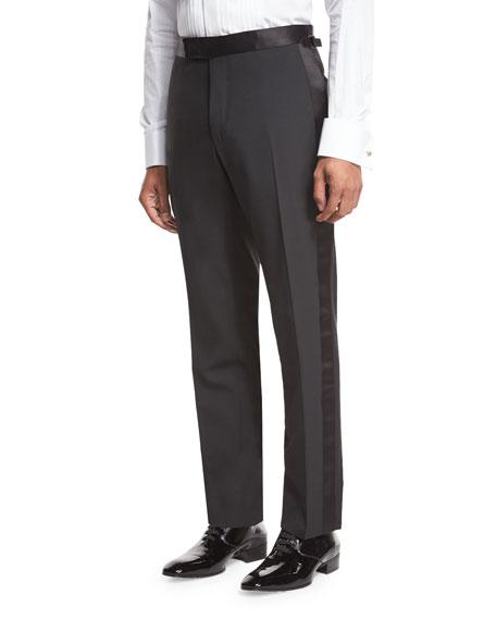 Shelton Base Satin-Trim Formal Trousers, Black