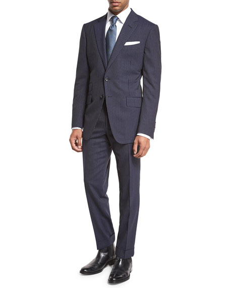 O'Connor Base Narrow Pinstripe Two-Piece Suit, Bright Blue