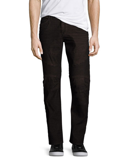 True Religion Ricky Moto Two-Tone Corduroy Jeans, Red