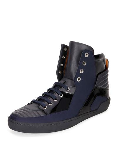 Etman Rubberized Leather High-Top Sneaker, Dark Gray