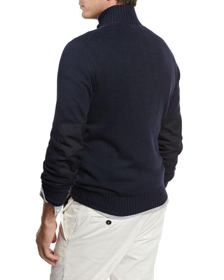 Full-Zip Cotton Sweater, Navy