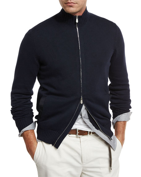Brunello Cucinelli Full-Zip Cotton Sweater, Navy