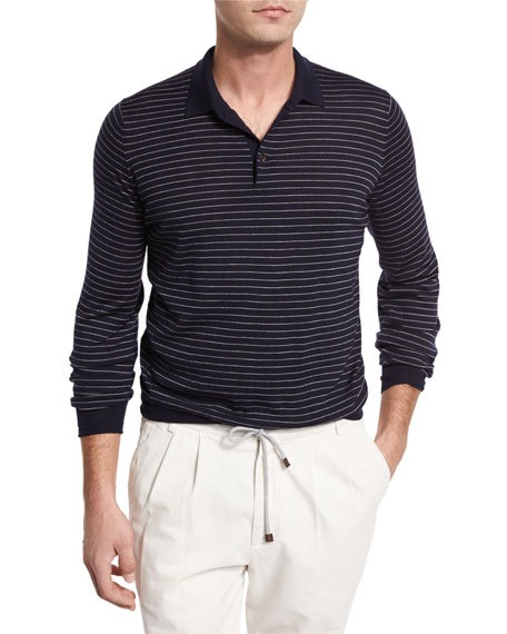 Brunello Cucinelli Fine-Gauge Wool-Cashmere Striped Long-Sleeve