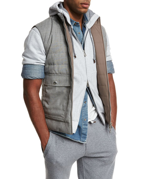 Reversible Quilted Vest, Gray