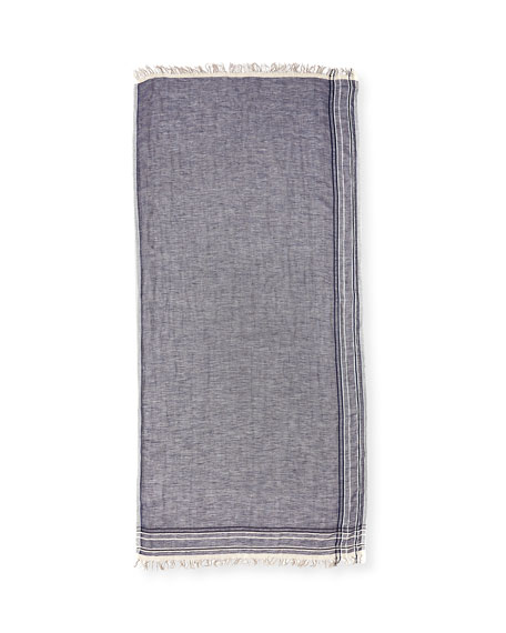 Striped-Border Linen Scarf