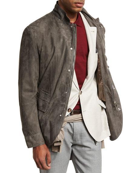 Brunello Cucinelli Lamb Suede Sport Jacket, Gray