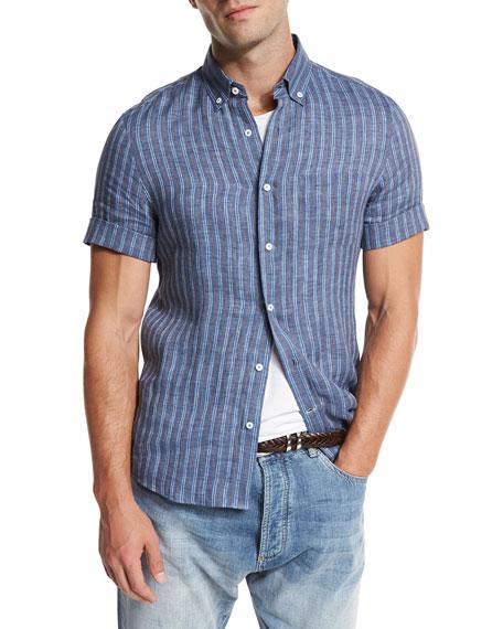 Brunello Cucinelli Striped Short-Sleeve Leisure Sport Shirt,