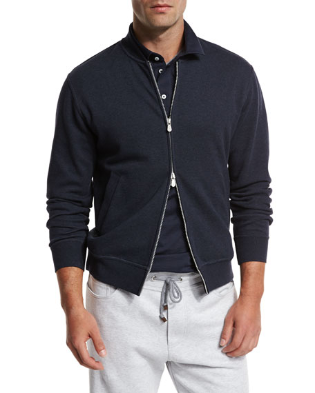 Brunello Cucinelli Zip-Front Spa Sweatshirt, Blue/Gray