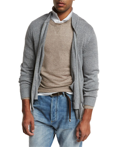 Full-Zip Linen-Cotton Sweater, Medium Gray