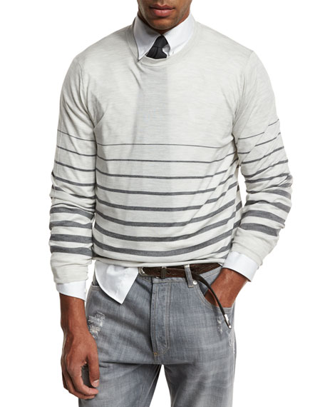 Brunello Cucinelli Striped Fine-Gauge Crewneck Sweater, Gray