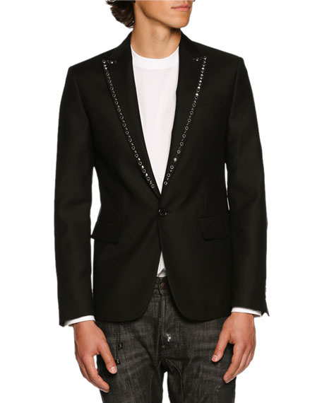 Studded-Lapel Single-Button Blazer, Black