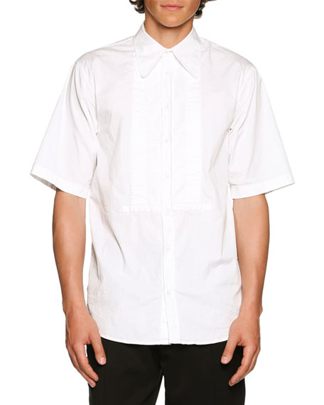 Dsquared2 Tuxedo-Style Short-Sleeve Shirt, White