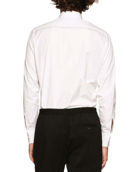 Contrast Ruched-Trim Woven Shirt, White