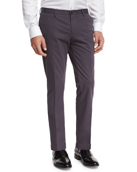 BOSS Slim-Straight Flat-Front Trousers, Mid Gray