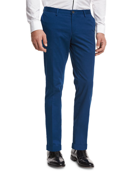 BOSS Slim-Straight Flat-Front Trousers, Bright Teal