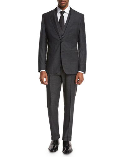 Micro-Nailhead 3-Piece Suit, Charcoal Black