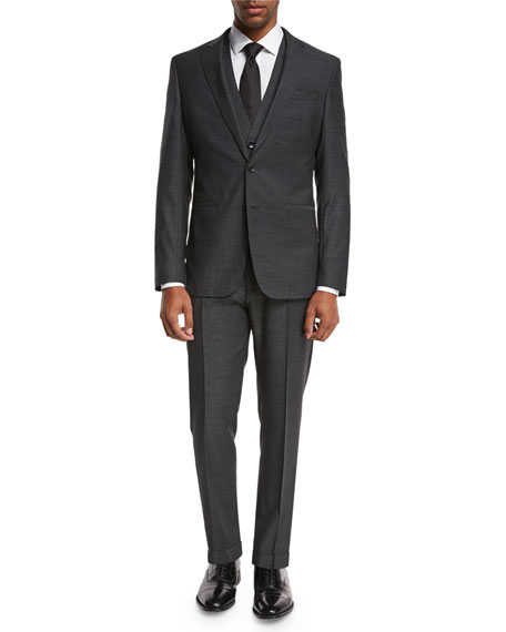 BOSS Micro-Nailhead 3-Piece Suit, Charcoal Black