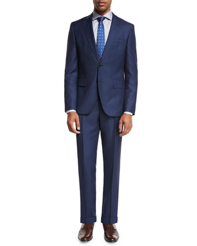 Textured Wool Two-Piece Suit, High Blue