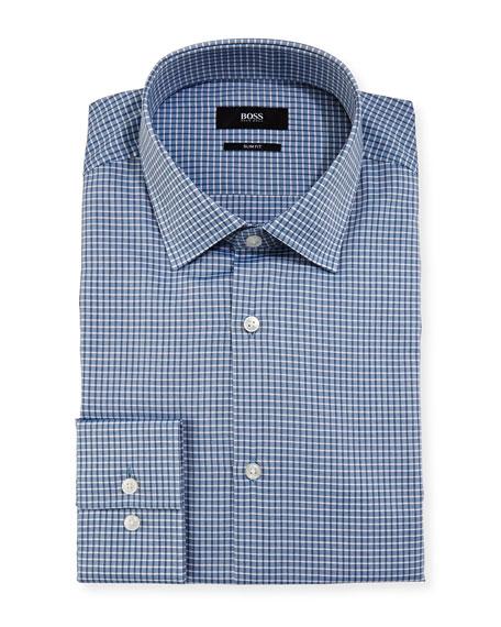 BOSS Box-Check Slim-Fit Dress Shirt, Blue