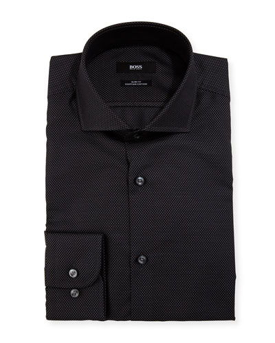 Patterned Slim-Fit Dress Shirt, Black/Gray