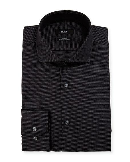BOSS Patterned Slim-Fit Dress Shirt, Black/Gray