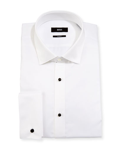 Slim-Fit Tuxedo Dress Shirt, White