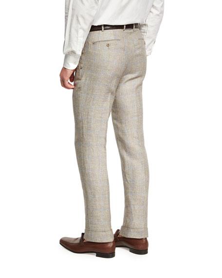 Windowpane Linen-Wool Flat-Front Trousers, Brown/Ivory/Blue