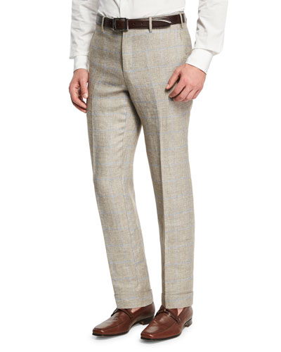 Windowpane Linen-Wool Flat-Front Trousers, Brown/Ivory/Blue