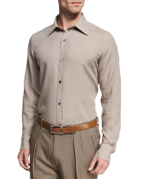 Linen Point-Collar Slim-Fit Shirt, Tan