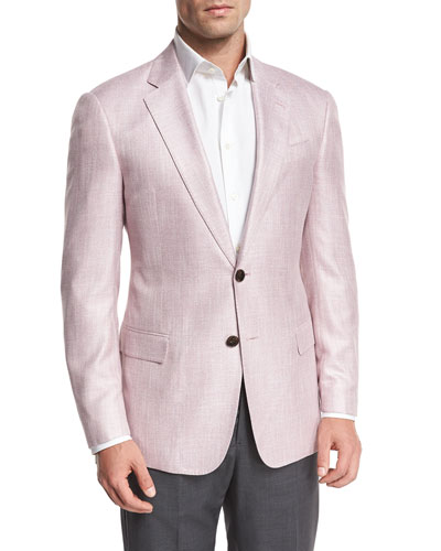 Melange Two-Button Sport Coat, Pink