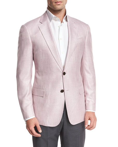 Armani Collezioni Melange Two-Button Sport Coat, Pink