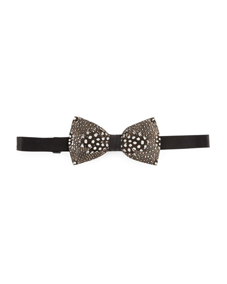 Feather Bow Tie, White/Black