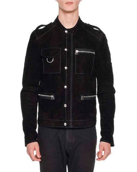 Suede Contrast-Trim Biker Jacket, Black