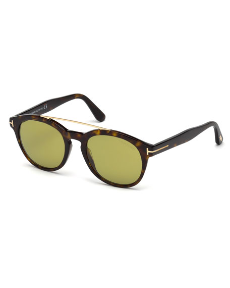 TOM FORD Newman Round Shiny Acetate Sunglasses, Dark