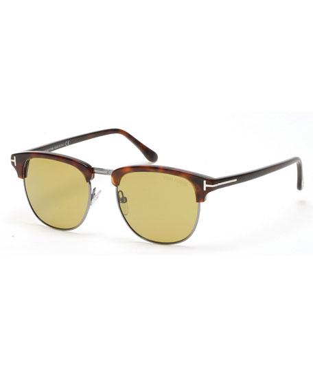 Henry Shiny Half-Rim Sunglasses, Havana