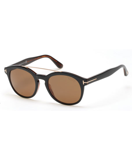 TOM FORD Newman Round Shiny Acetate Polarized Sunglasses,