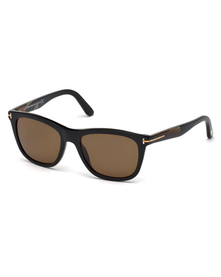TOM FORD Andrew Square Shiny Acetate Polarized Sunglasses,
