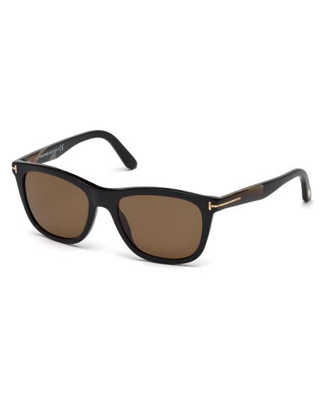 Andrew Square Shiny Acetate Polarized Sunglasses, Black