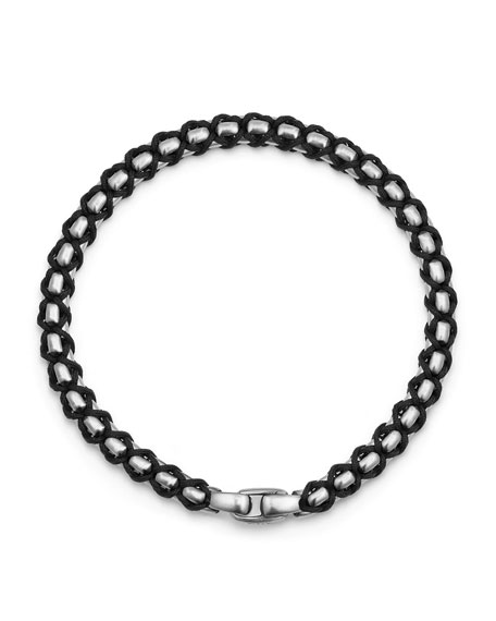 Men's 4.8mm Woven Box Chain Bracelet, Black