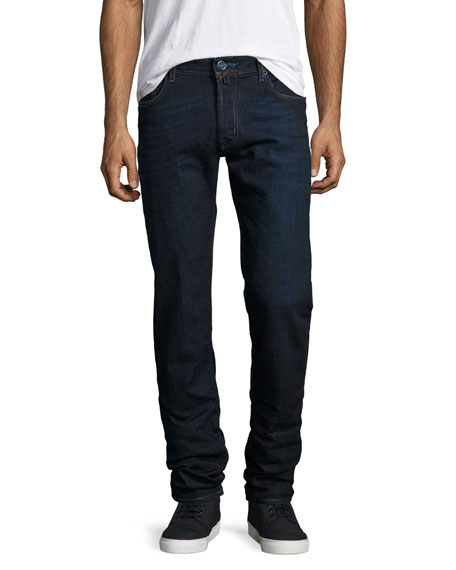 Jacob Cohen Dark-Wash Slim-Fit Stretch-Denim Jeans, Navy