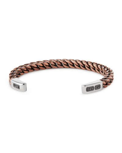 Woven Sterling Silver Cuff Bracelet, Rose Golden