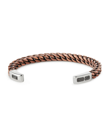 David Yurman Woven Sterling Silver Cuff Bracelet, Rose