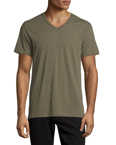 Slub V-Neck Short-Sleeve T-Shirt