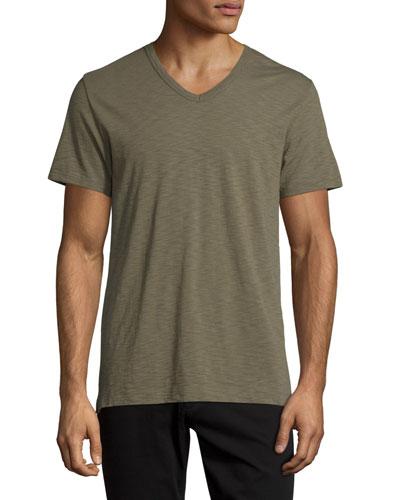 Slub V-Neck Short-Sleeve T-Shirt