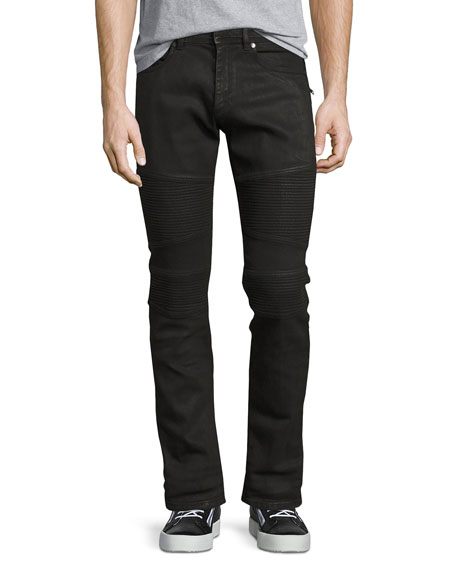 Wax-Coated Slim-Straight Biker Jeans, Black