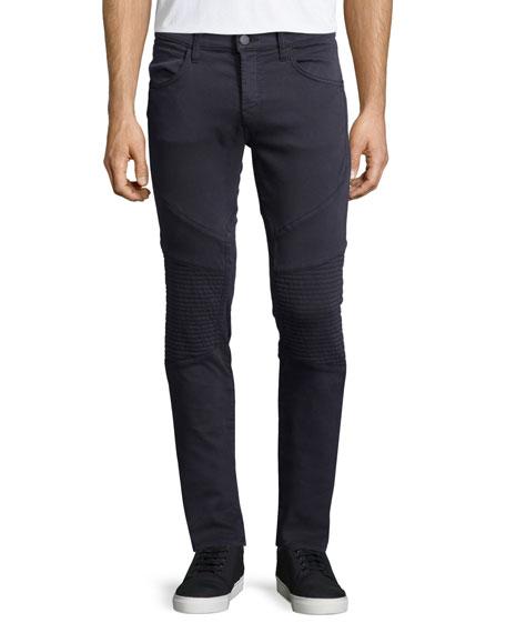 J Brand Bearden Skinny-Leg Moto Jeans, Storm Blue